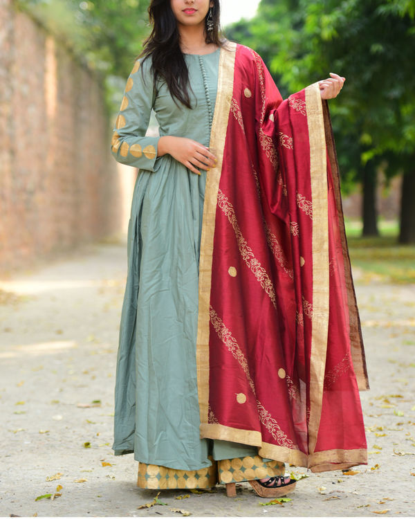 Opal blue and maroon anarkali palazzo set