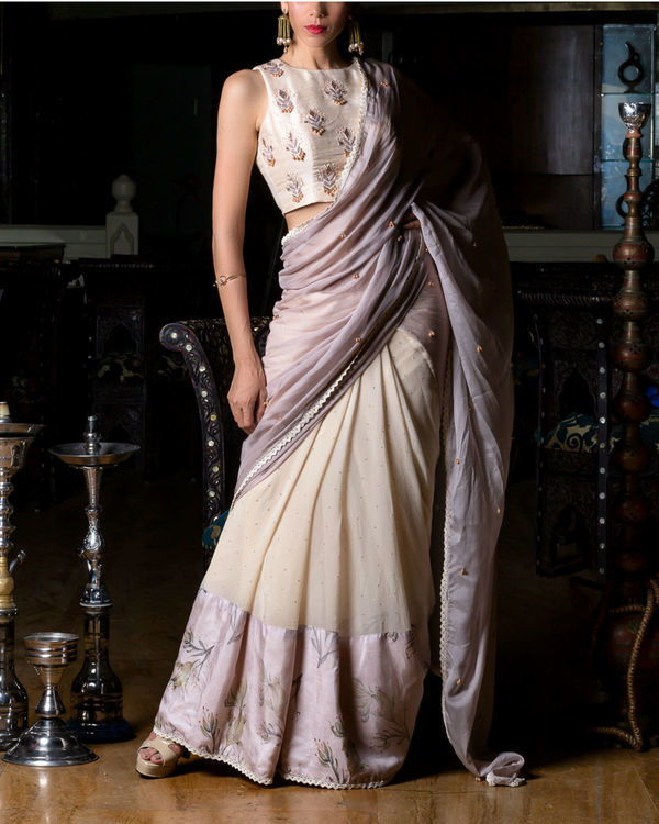 Half sari with embroidered blouse