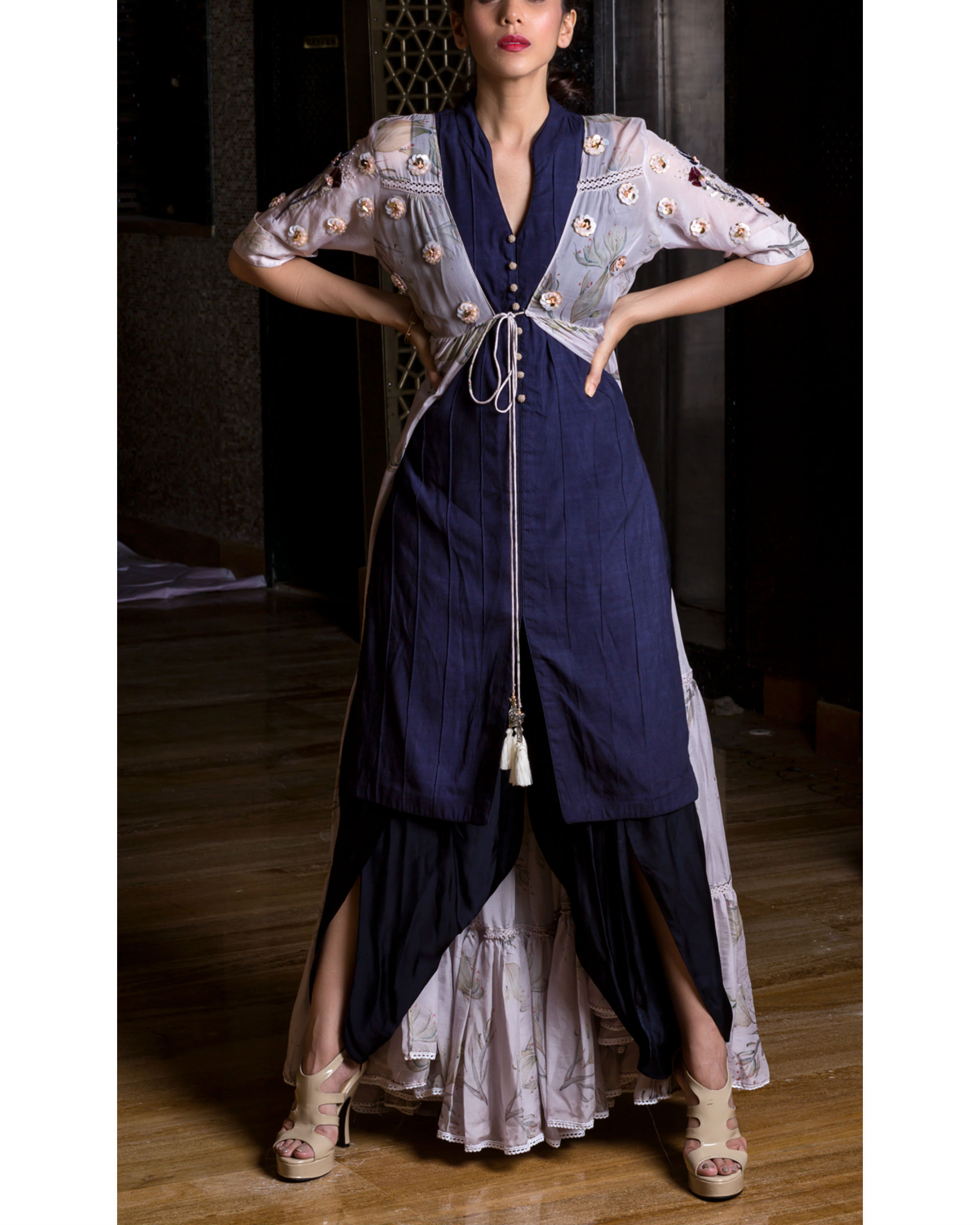 Lavender printed cape with kurta and dhoti pants