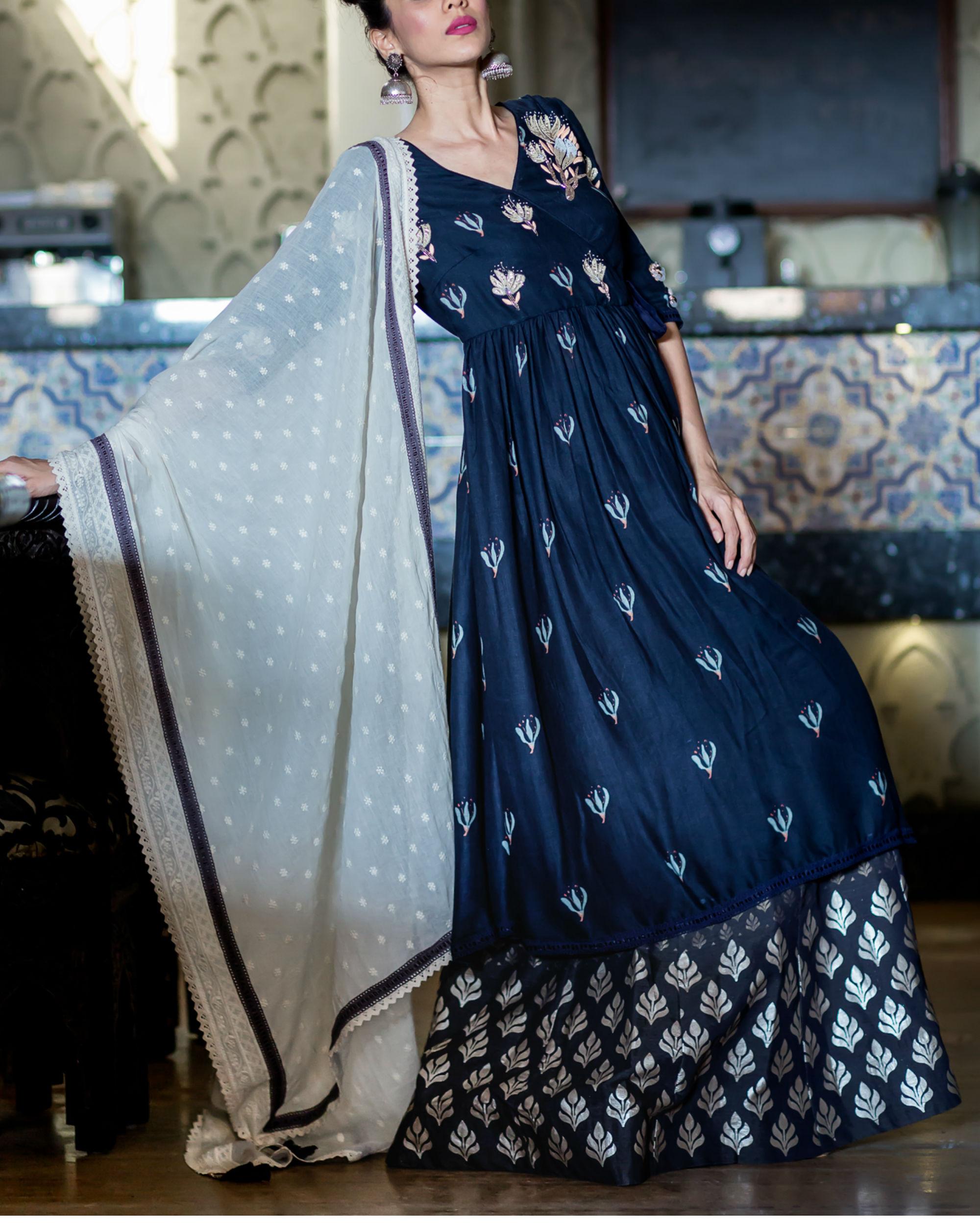 Midnight blue printed kurta with foil printed sharara