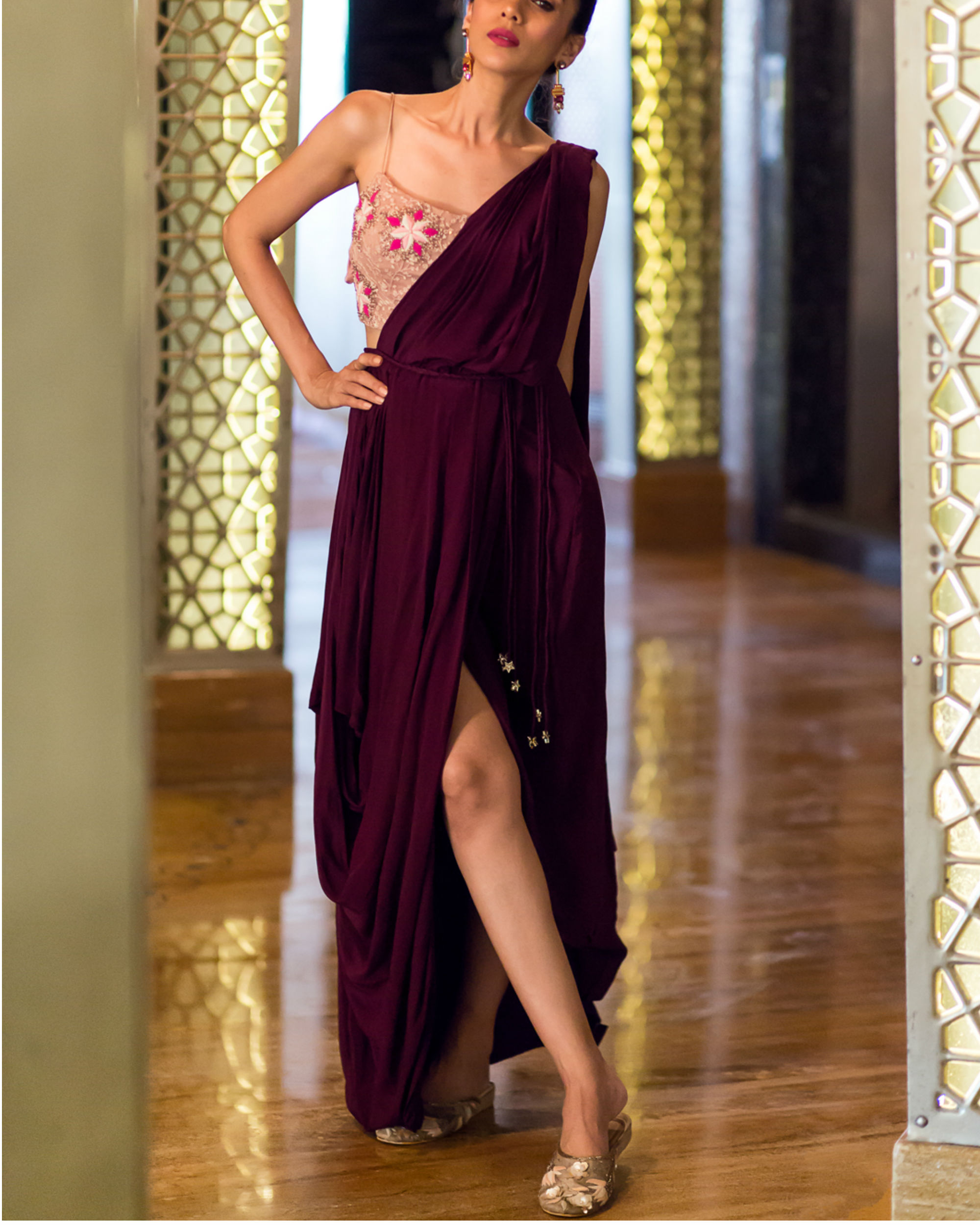 Concept wine sari with nude embroidered blouse