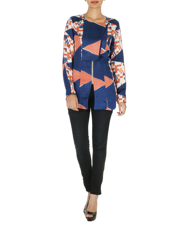 Blue and coral overlap jacket