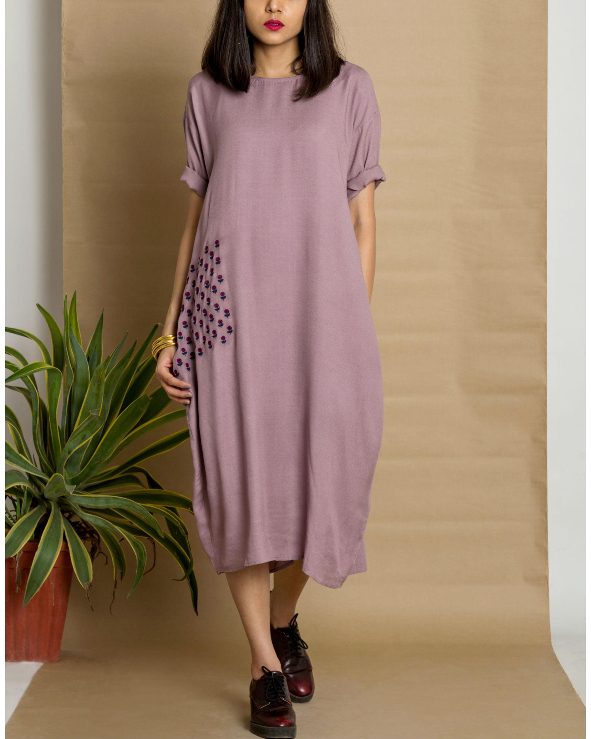 Purple moss crepe loose fit dress