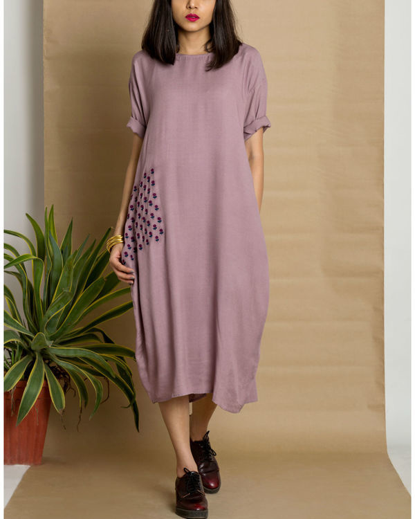 Purple moss crepe loose fit dress
