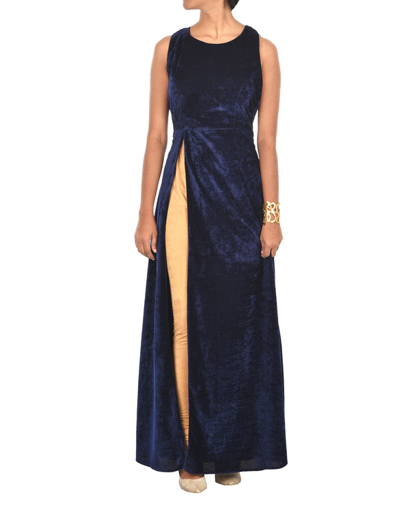 Royal blue velvet cape