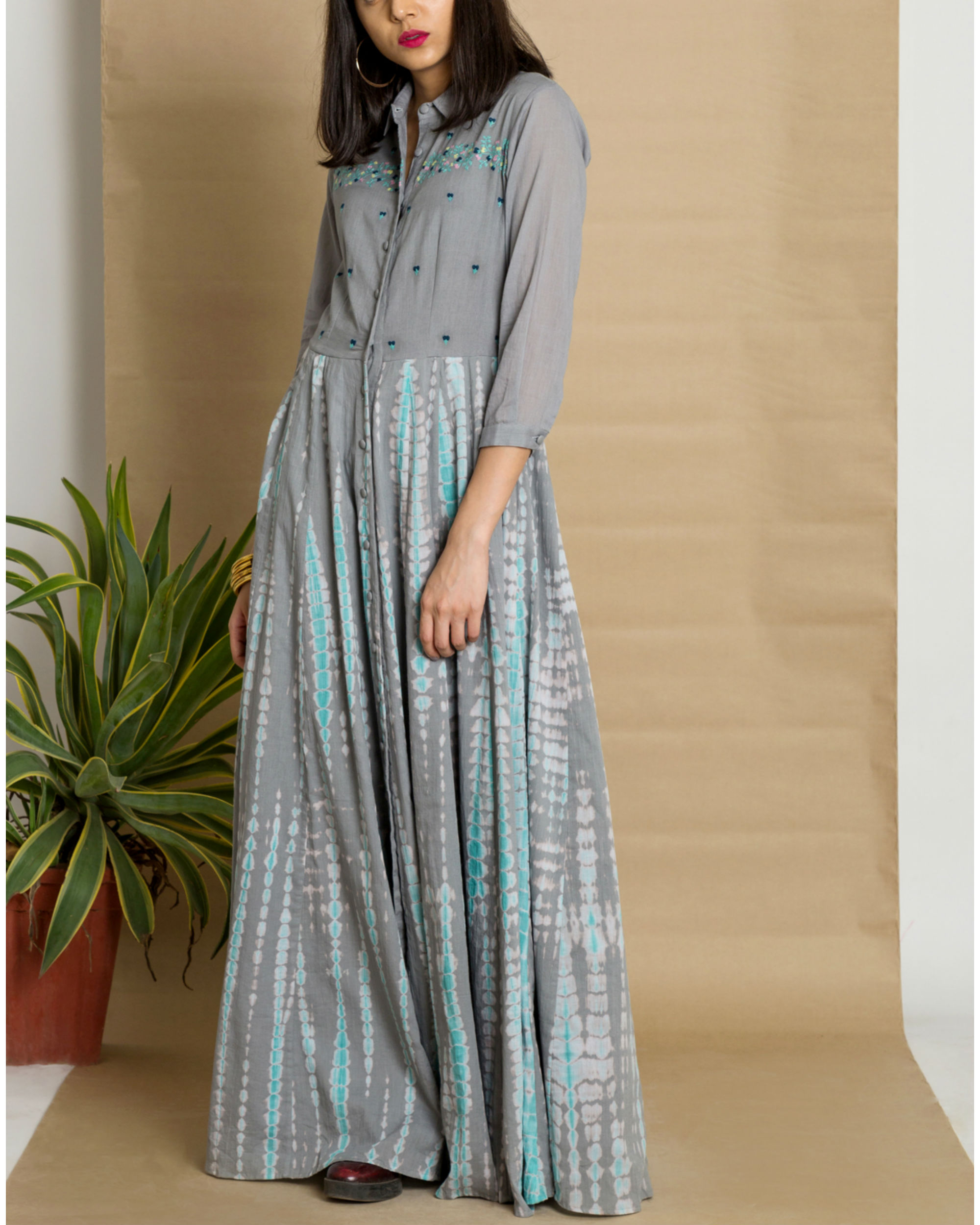 Grey cotton tie and dye maxi dress