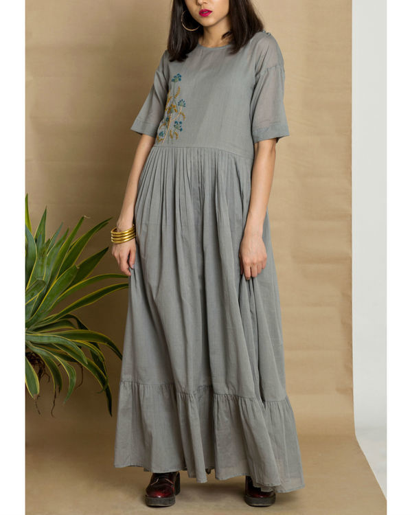 Grey cotton mul hand embroidered maxi dress