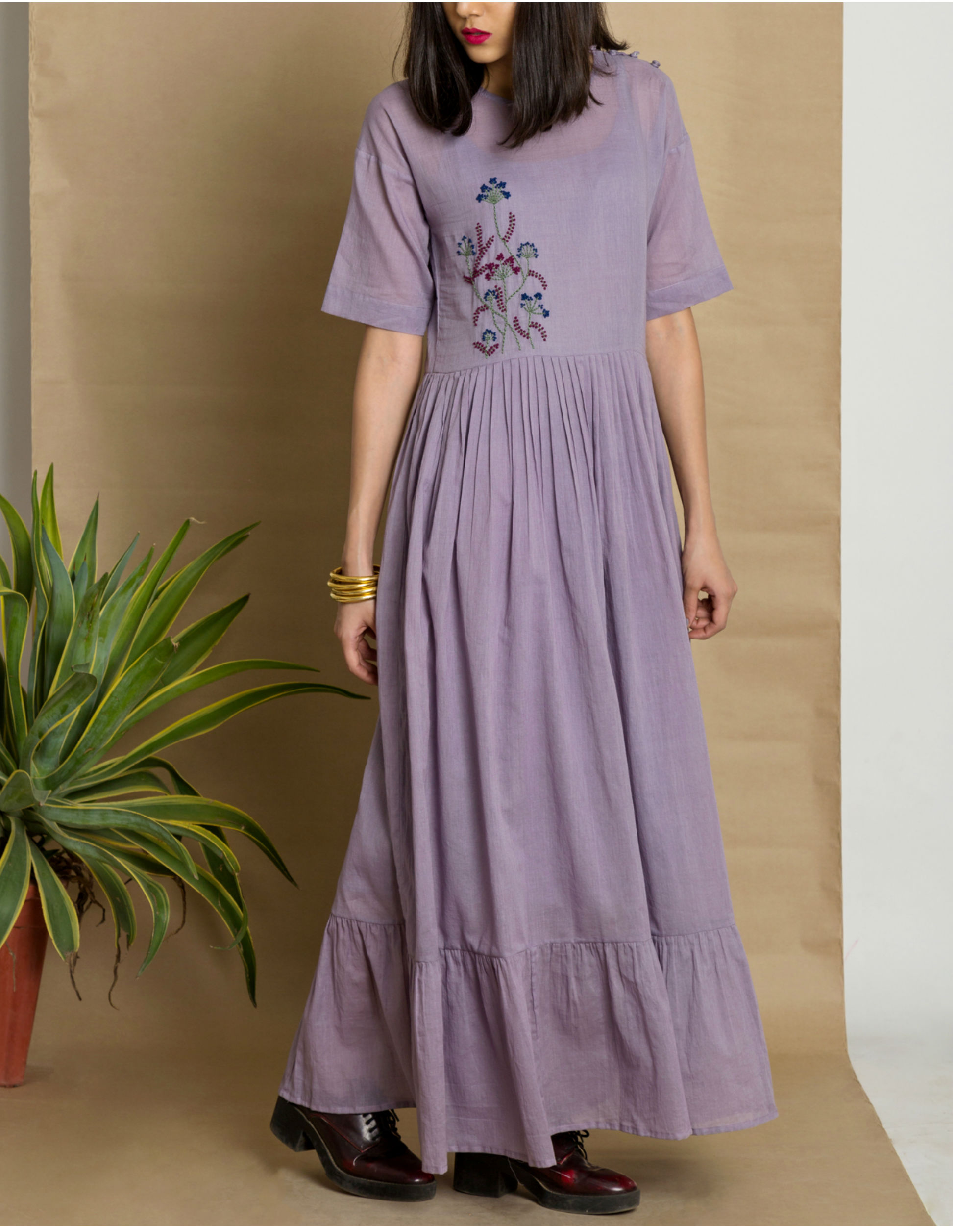Mauve cotton mul hand embroidered maxi dress