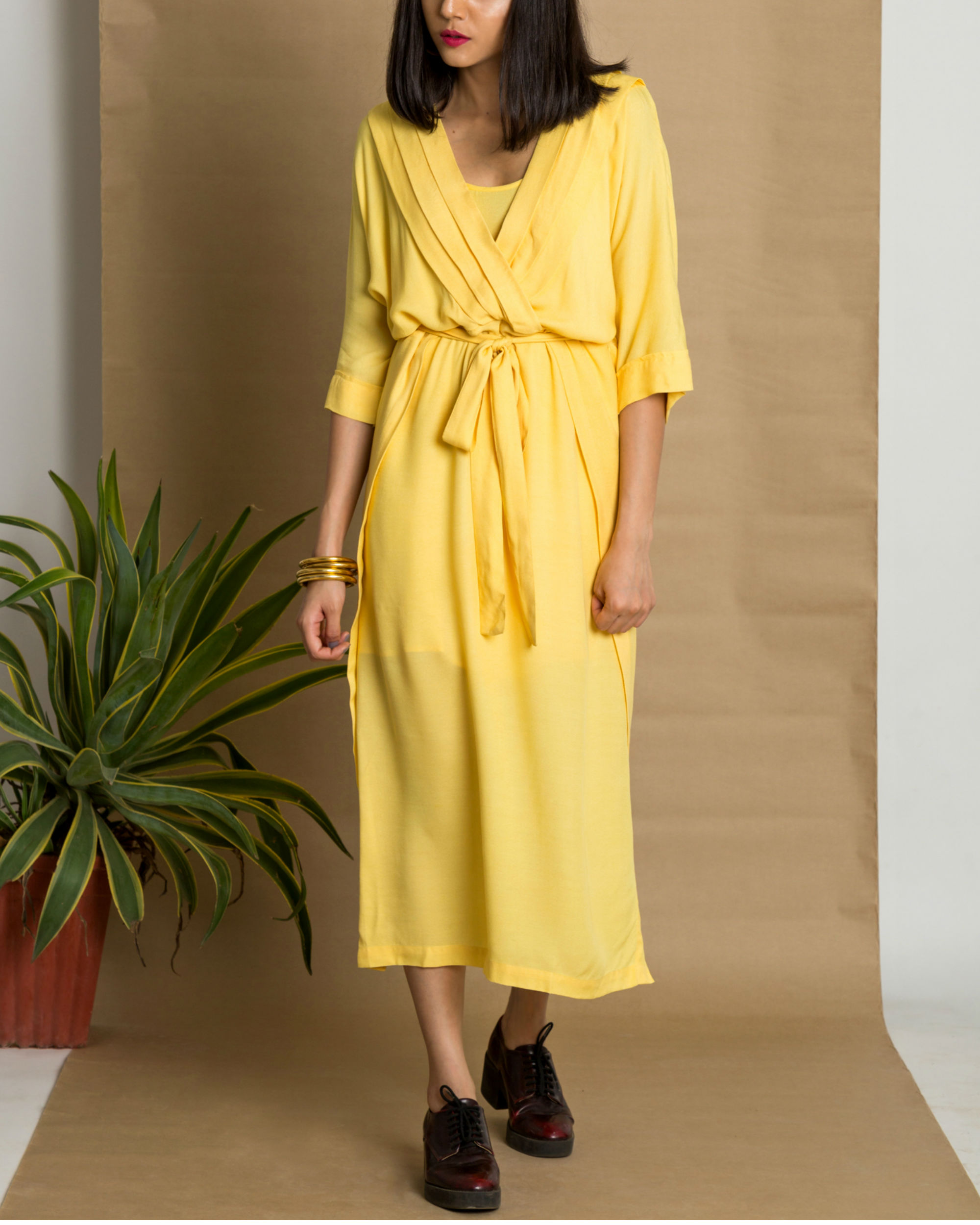Yellow moss crepe pleated yellow dress