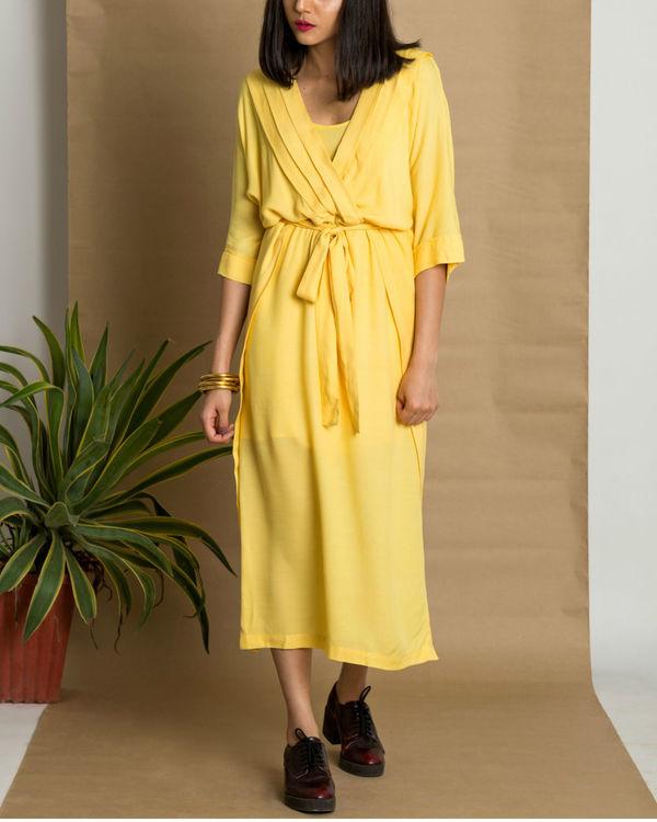 Yellow moss crepe pleated yellow dress