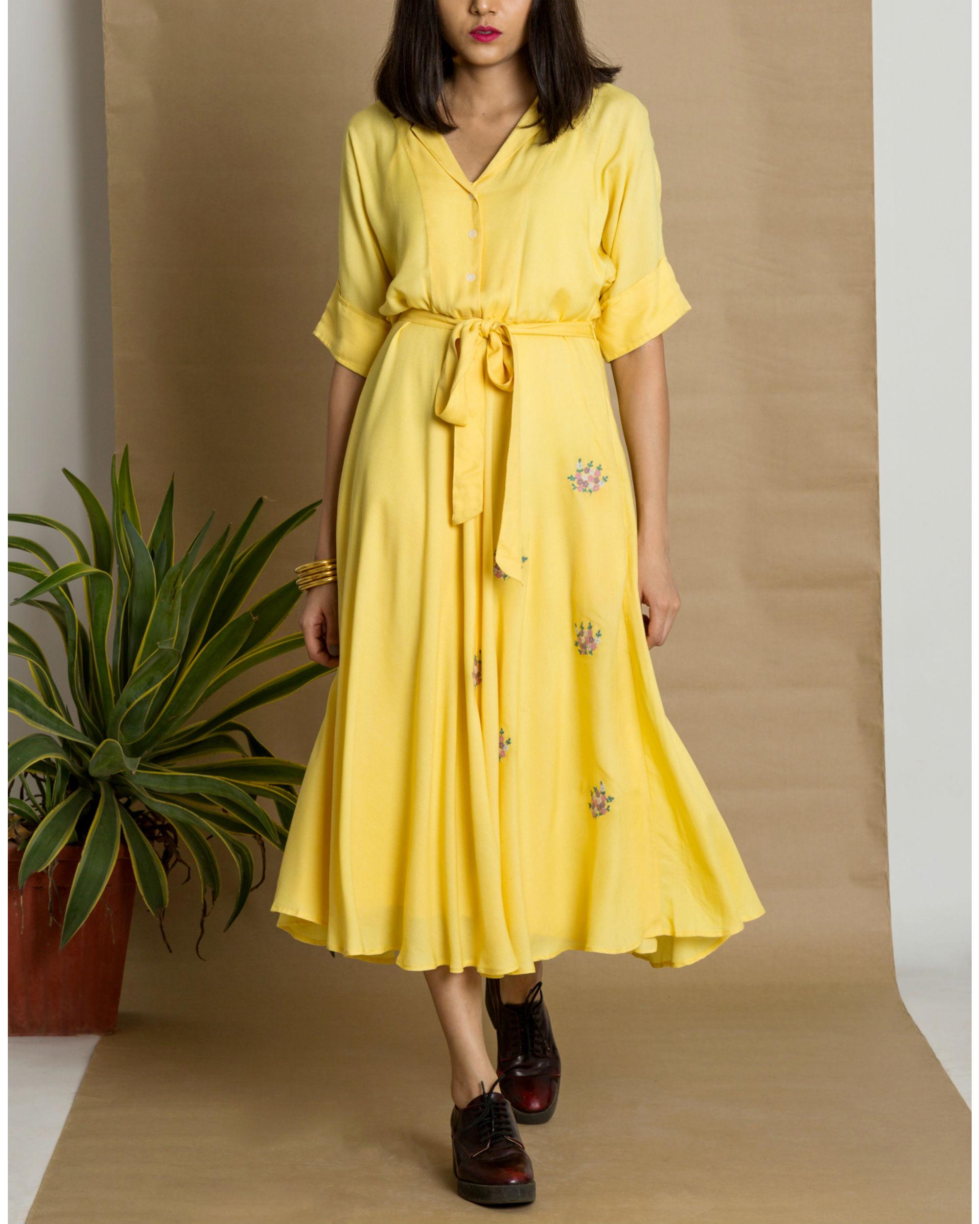Yellow moss crepe circular dress