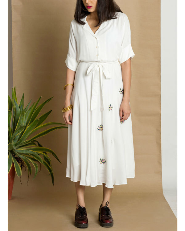 White moss crepe circular dress