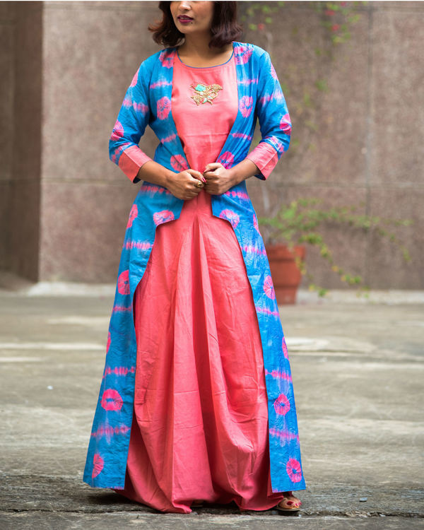 Pink & blue bandhej cape maxi set