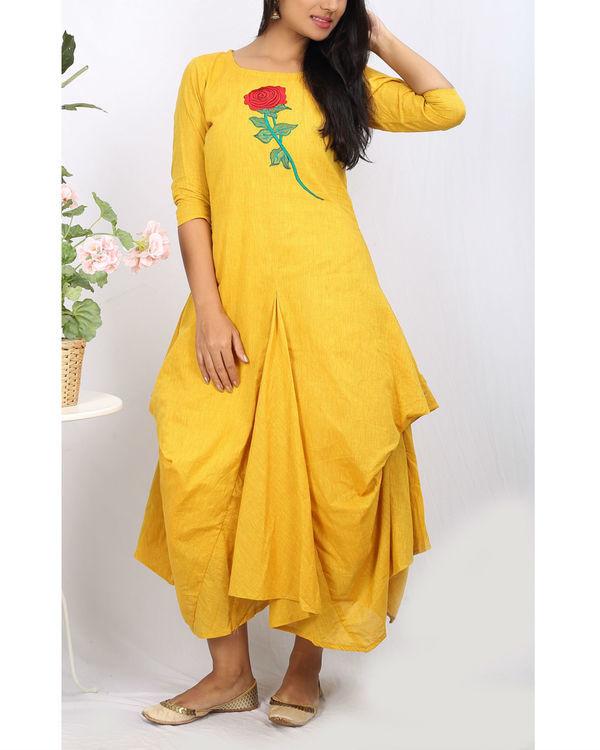 Mustard floral jute cowl dress
