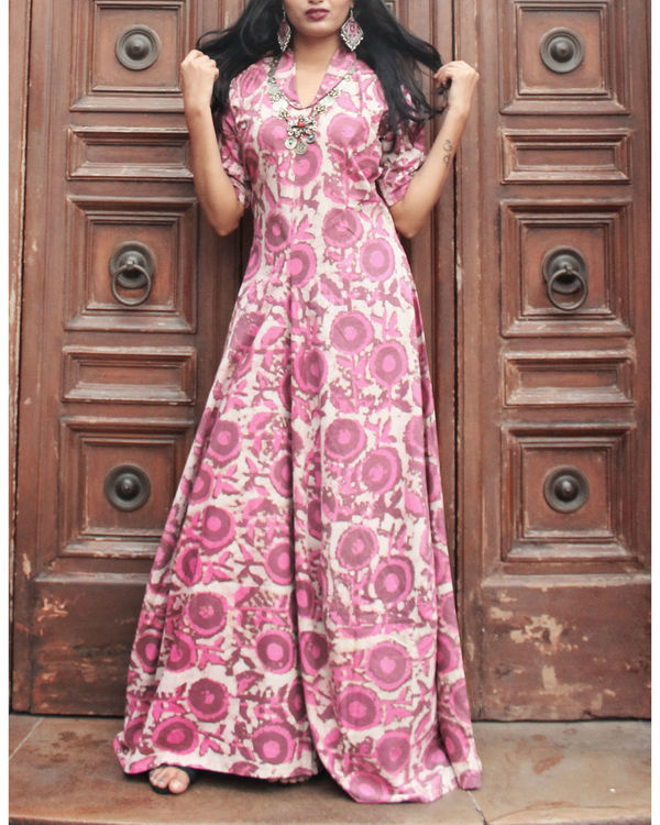 Pink floral cowl maxi