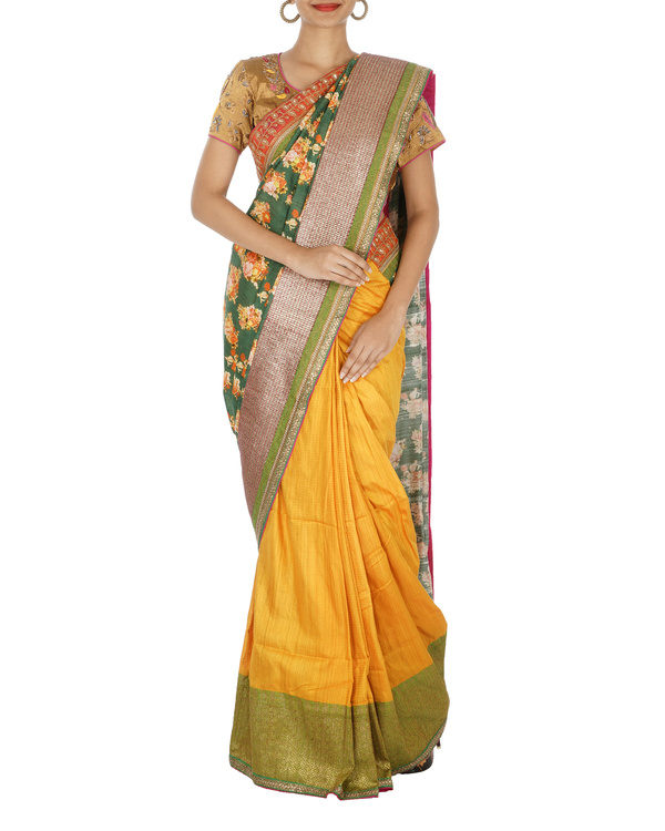 Printed silk and benarasi woven half and half saree