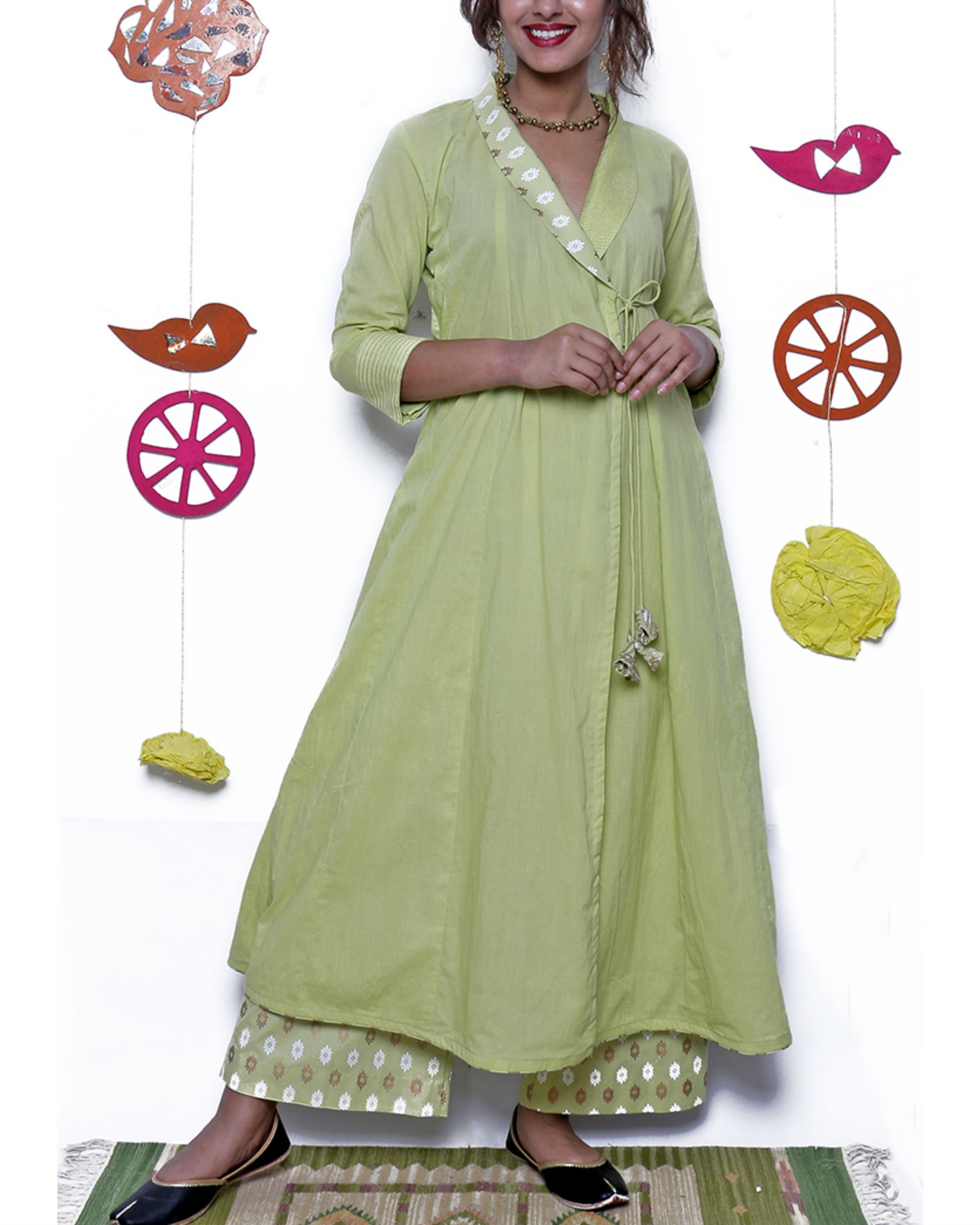 Pista green angrakha & pant set