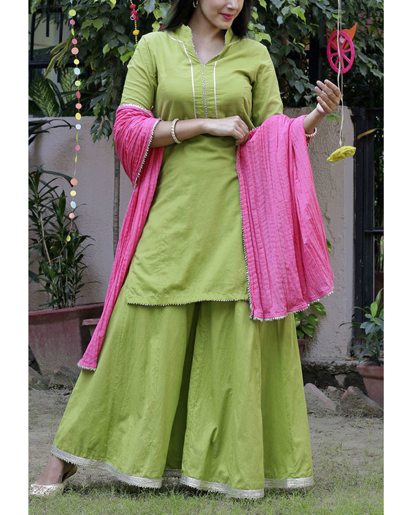 Parrot green sharara set with pink dupatta