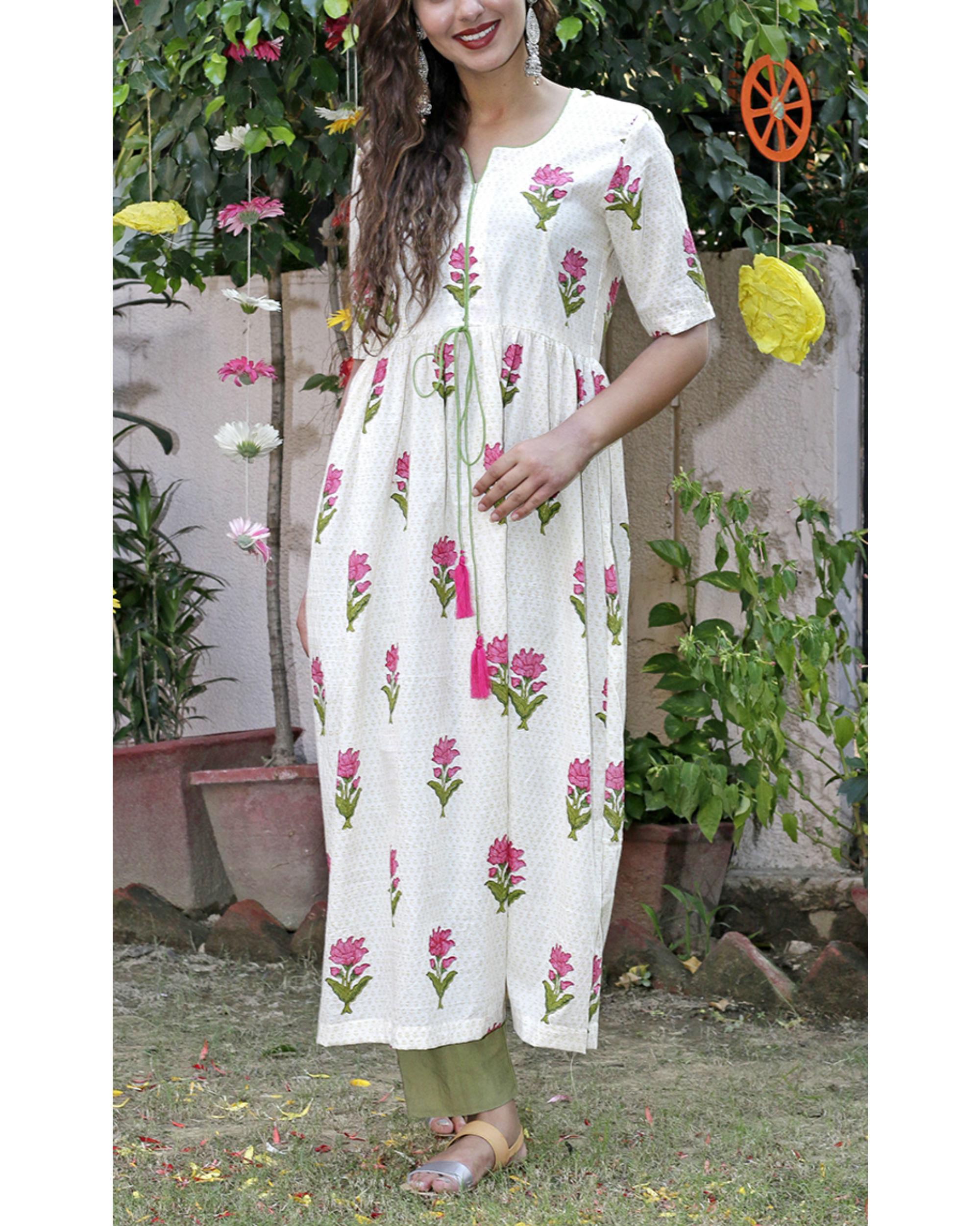 Green mughal block printed kurta set