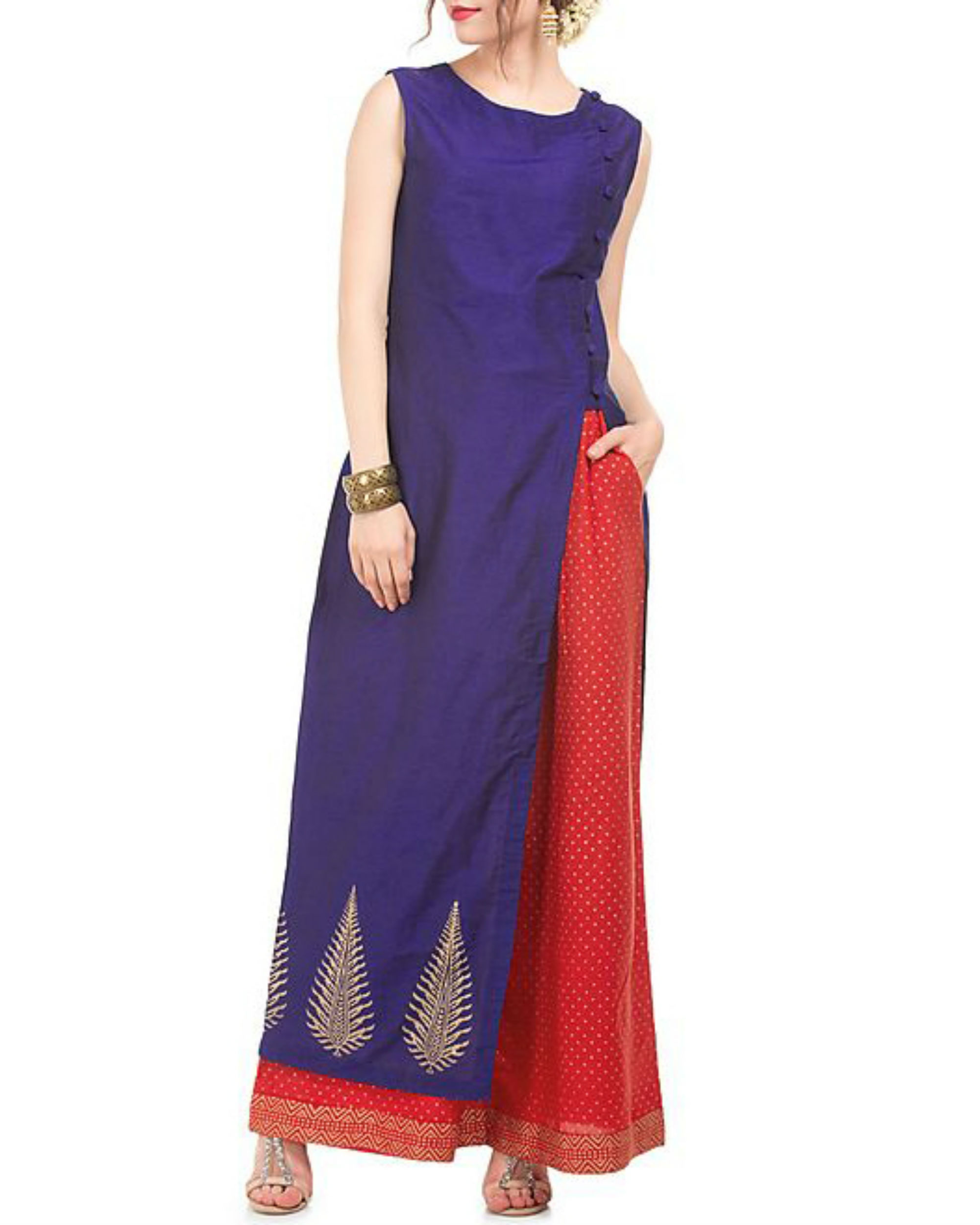Blue and red tunic & palazzo with butta block print