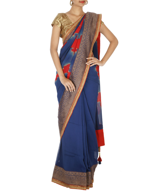 Navy blue and red chiffon saree