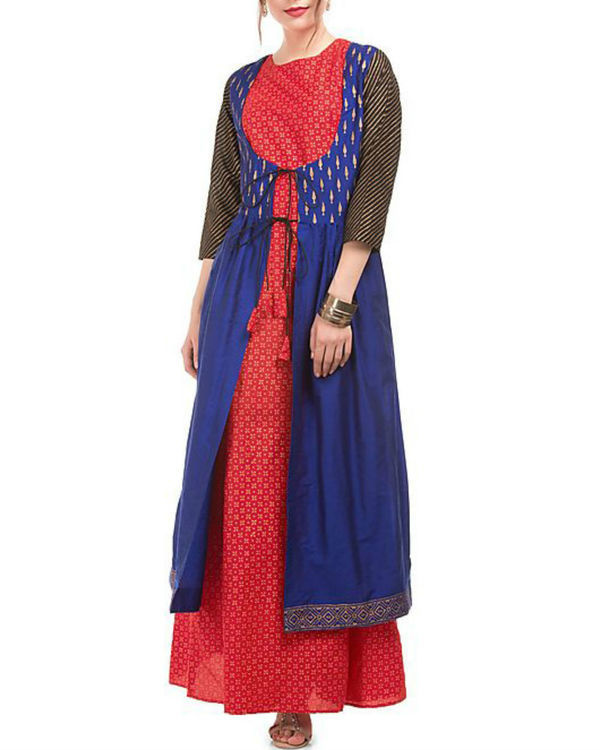 Blue and red block printed cotton silk tunic