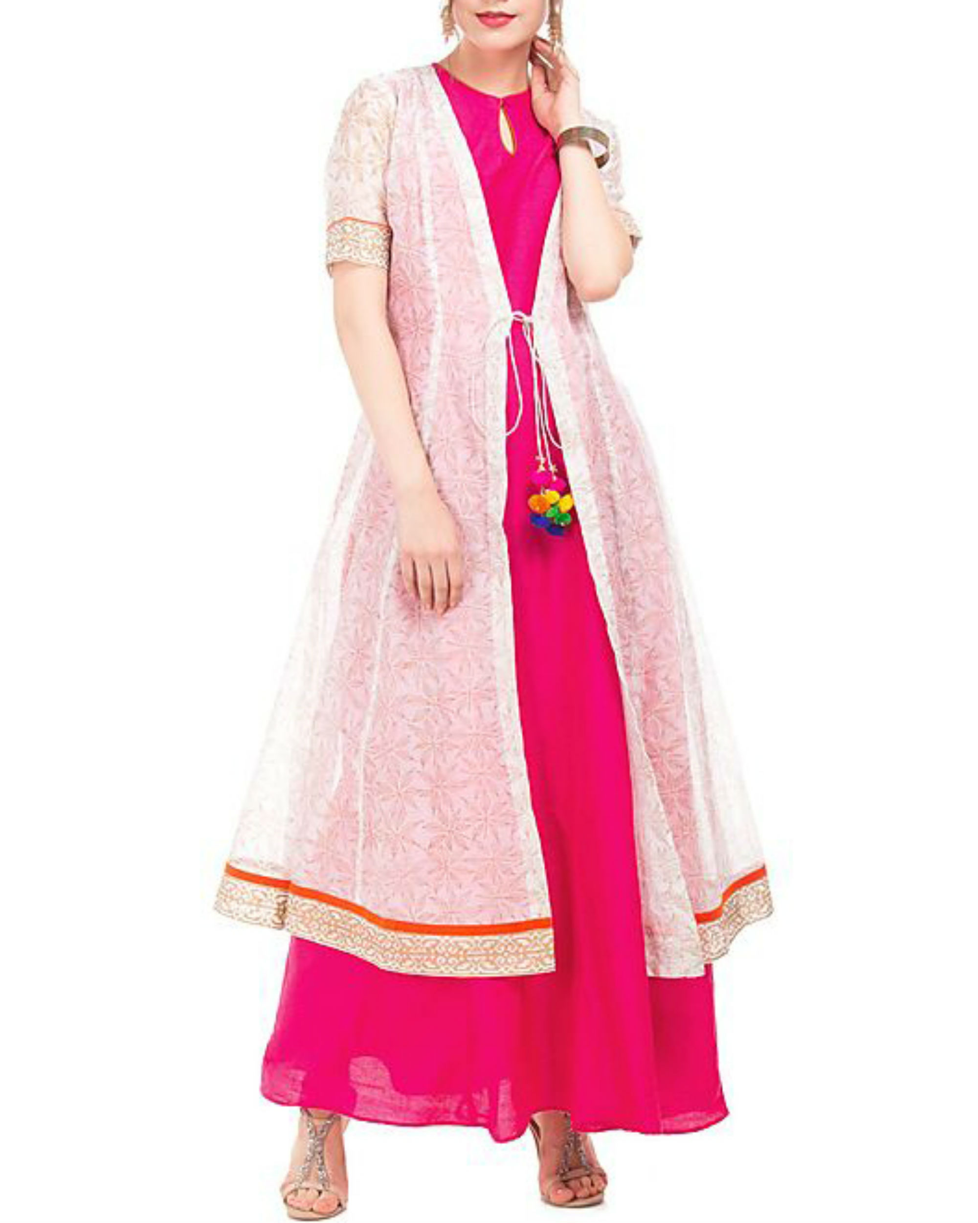 Pink and white chanderi tunic with block prints
