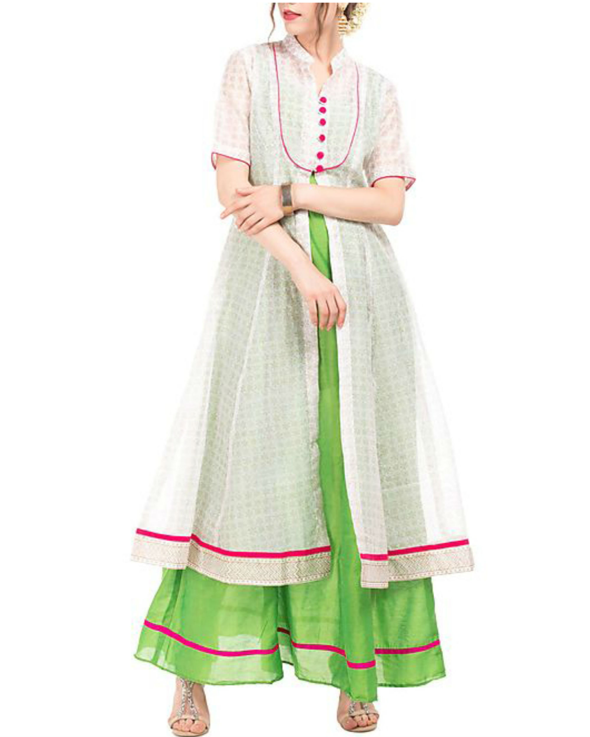 Green and white chanderi tunic with block prints
