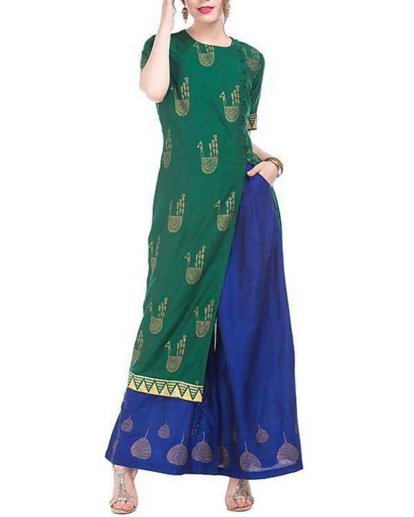 Green and blue kurta and palazzo set with motif print