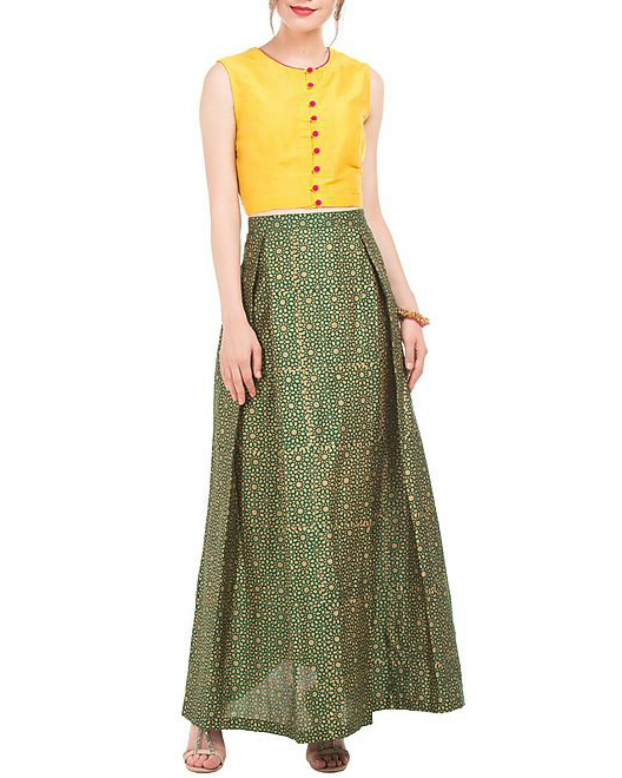 Yellow crop top and green skirt with block prints