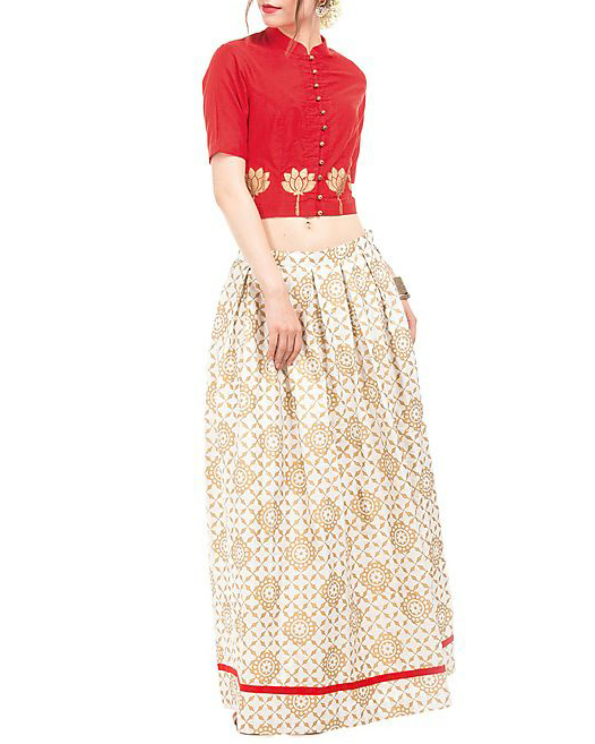 Red and white crop top and skirt with golden block prints