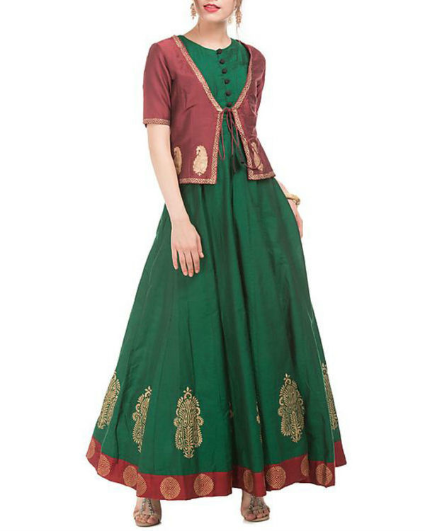 Green and maroon cotton silk anarkali and jacket