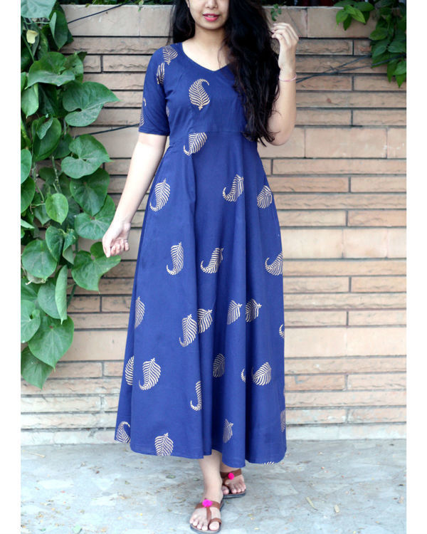 Navy blue ankle length gold leaf maxi dress