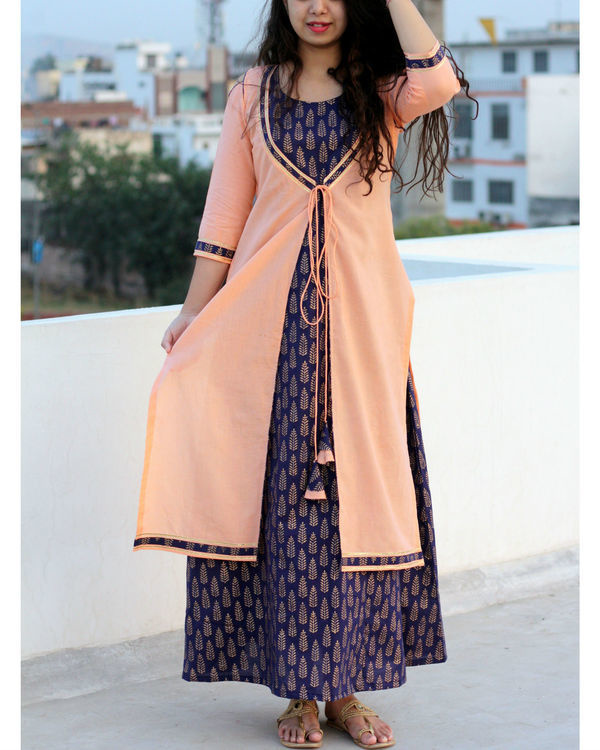 Blue printed maxi dress with peach jacket