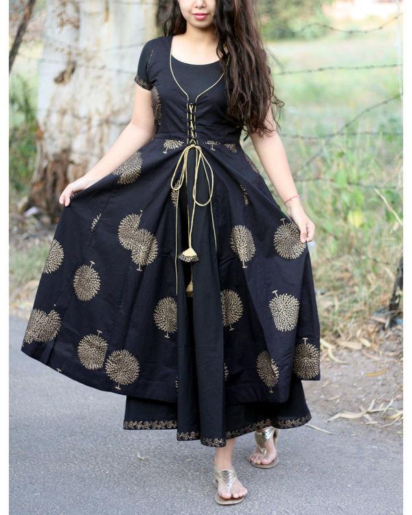 Black and gold tree print jacket dress