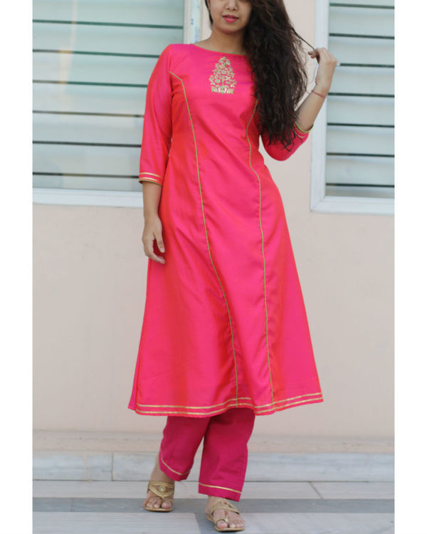 Fuchsia pink kurta and pants set