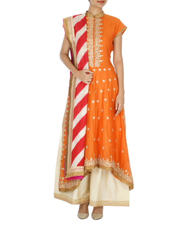 Orange and beige chanderi gota kurta set