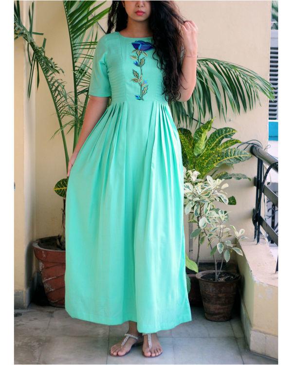 Aqua green maxi dress
