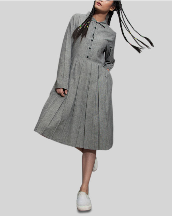 Grey a line pleat dress
