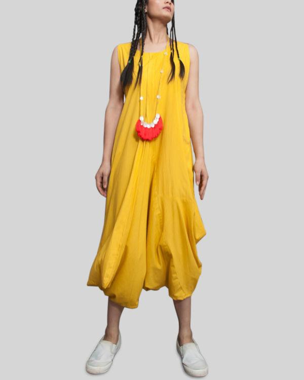 Yellow sleeveless jumpsuit cowl dress