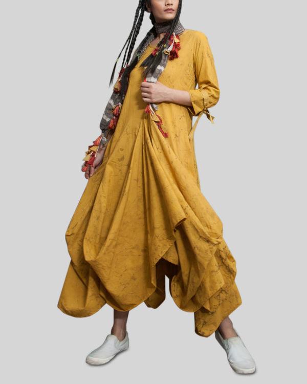 Mustard crush effect cowl dress