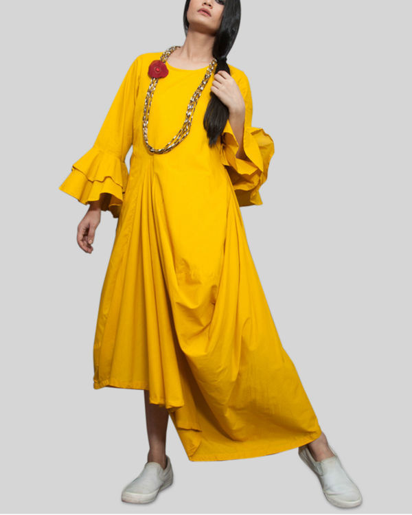 Yellow cowl and drape dress