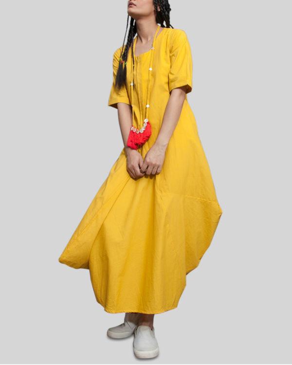 Mustard jumpsuit cowl dress