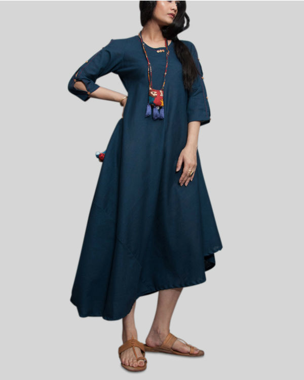 Navy blue cowl dress with locket necklace