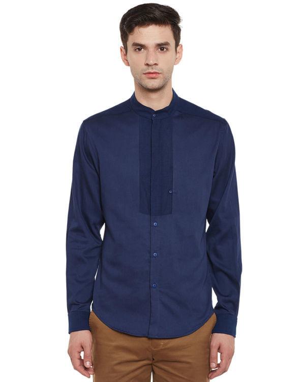 Indigo cotton safe pocket shirt
