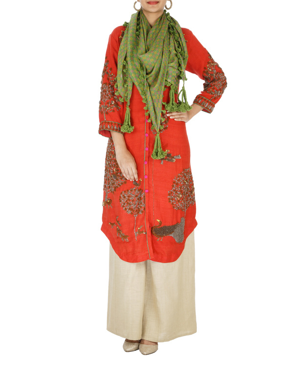 Red and beige matka kurta set