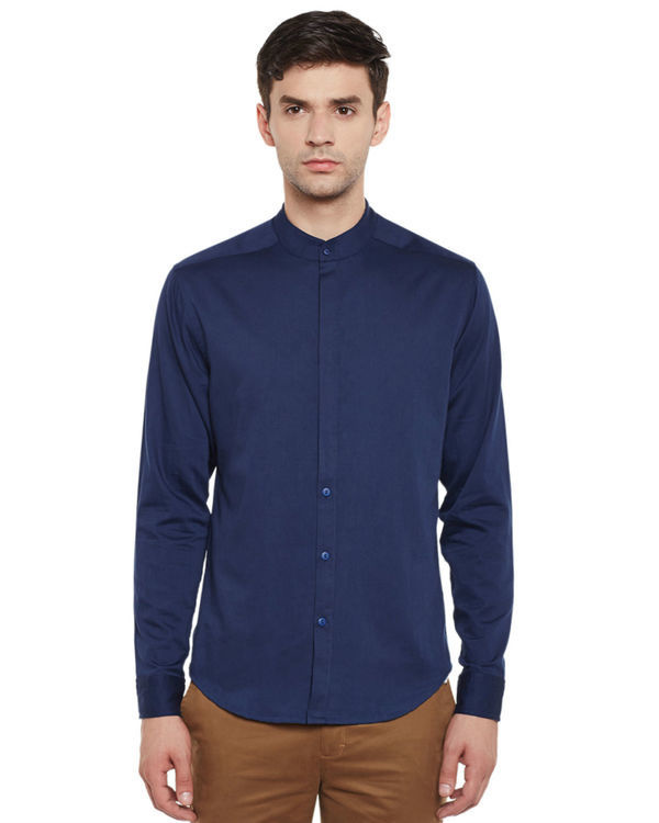 Indigo cotton slim fit shirt