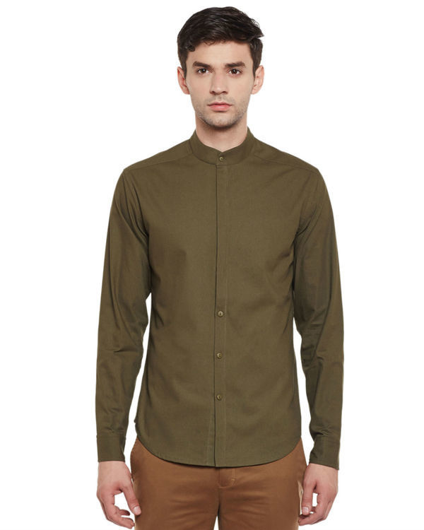 Olive cotton slim fit shirt