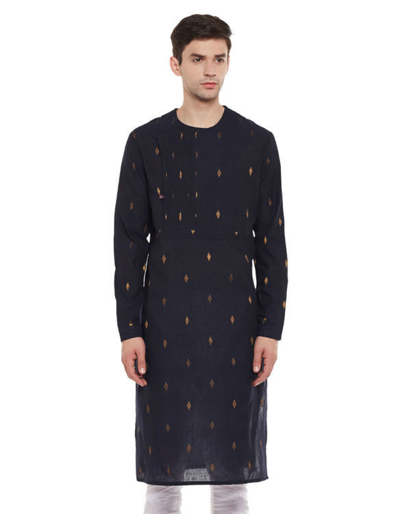 Navy zari booti cotton kurta
