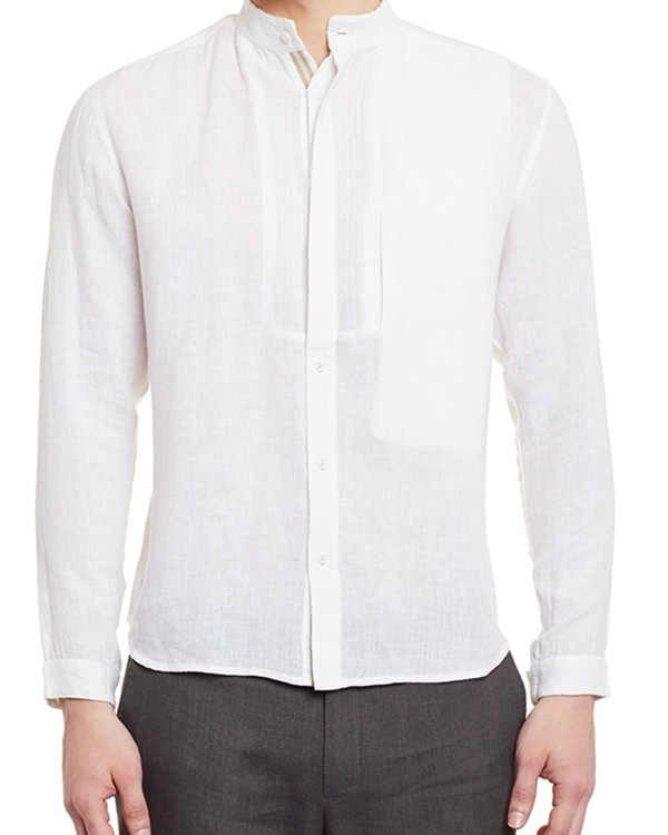 White linen safe pocket shirt
